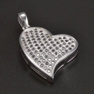 Stříbrné srdce se drobnými zirkony 5920 č.1