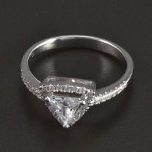 Stříbrný prsten trojúhelníkový zirkon 5939
