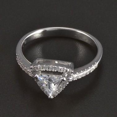 Stříbrný prsten trojúhelníkový zirkon 5939 č.1