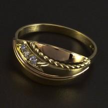 Zlatý prsten kombinace žluté a červené 5993