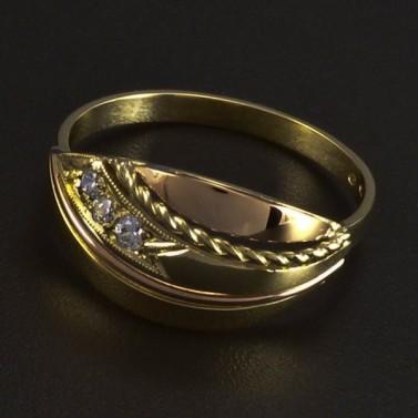 Zlatý prsten kombinace žluté a červené 5993 č.1