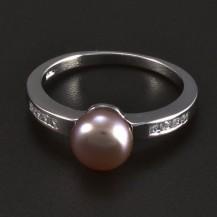 Stříbrný prsten s fialovou perlou 5996