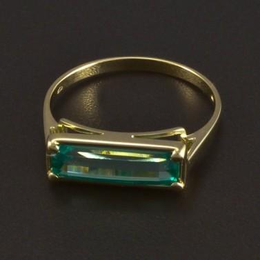 Zlatý prsten obdélníkový smaragd 6032 č.1
