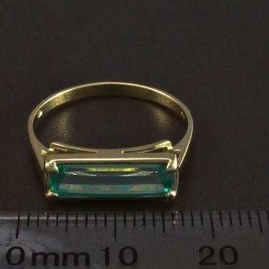 Zlatý prsten obdélníkový smaragd 6032 č.2