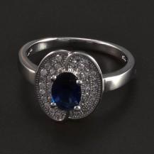 Stříbrný prsten s oválným safírem 6049