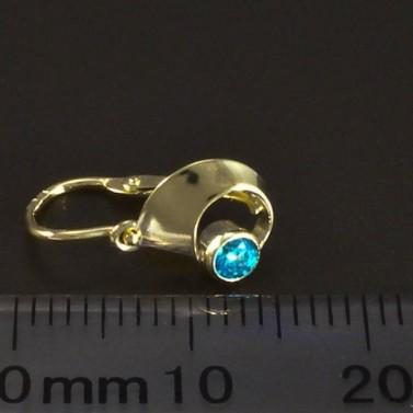 Zlaté náušnice dětské zelenomodrý zirkon 6083 č.3