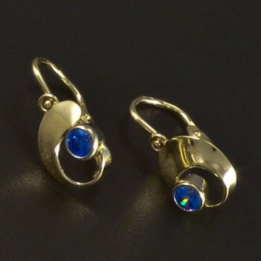 Zlaté náušnice dětské modrý akvamarín 6085 č.1