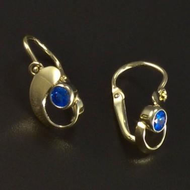 Zlaté náušnice dětské modrý akvamarín 6085 č.2