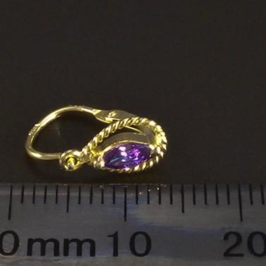 Dětské kapkové náušnice zlaté fialové 6086 č.3