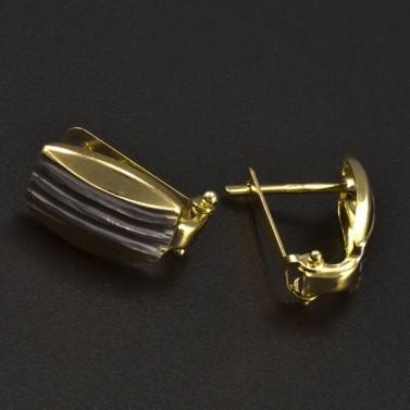 Zlaté náušnice žlutobílá kombinace 6263 č.2