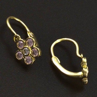 Zlaté náušnice dětské růžové kytičky 6284 č.2