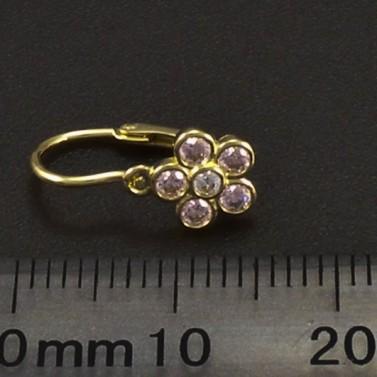 Zlaté náušnice dětské růžové kytičky 6284 č.3