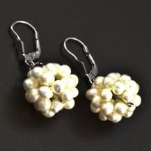 Bílé perlové náušnice bílé zlato 6300