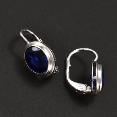 Náušnice z bílého zlata oválný modrý safír 6301 č.2