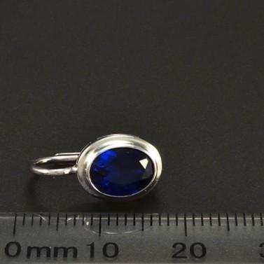 Náušnice z bílého zlata oválný modrý safír 6301 č.3
