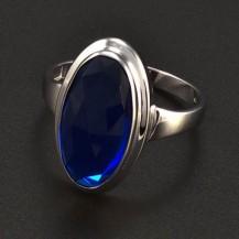 Prsten z bílého zlata oválný safír 6304