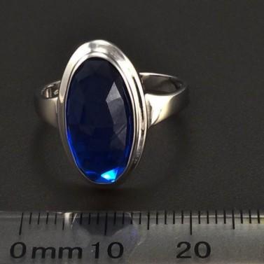 Prsten z bílého zlata oválný safír 6304 č.2
