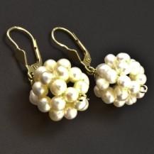 Zlaté perlové náušnice koule 6329