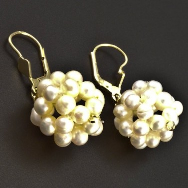 Zlaté perlové náušnice koule 6329 č.2