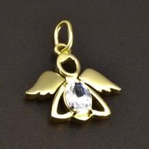 Zlatý přívěsek anděl bílý zirkon 6340