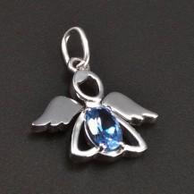 Přívěsek bílé zlato anděl modrý zirkon 6341