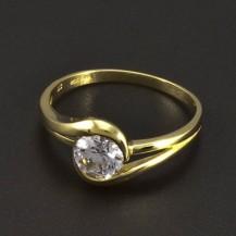Zásnubní zlatý prsten s bílým zirkonem 6343