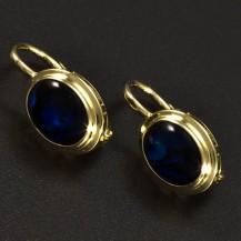 Zlaté náušnice modrá perleť 6355