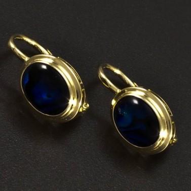 Zlaté náušnice modrá perleť 6355 č.1