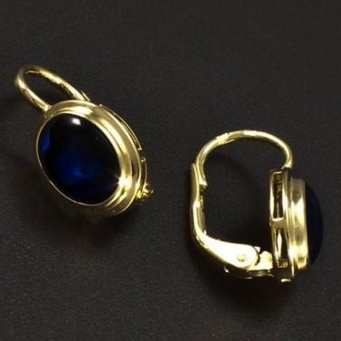 Zlaté náušnice modrá perleť 6355 č.2