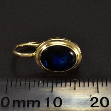 Zlaté náušnice modrá perleť 6355 č.3