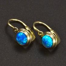Zlaté dětské náušnice opál modrý 6366