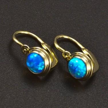 Zlaté dětské náušnice opál modrý 6366 č.1