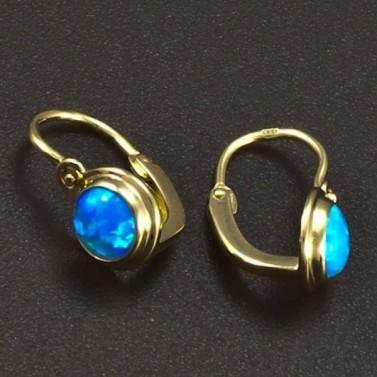 Zlaté dětské náušnice opál modrý 6366 č.2