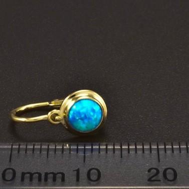 Zlaté dětské náušnice opál modrý 6366 č.3