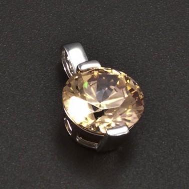 Přívěsek z bílého zlata champagne zirkon 6370 č.1