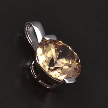 Přívěsek z bílého zlata champagne zirkon 6370 č.2