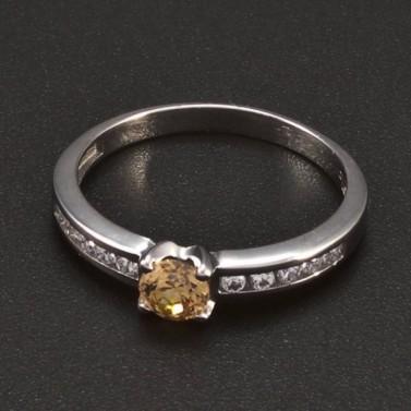 Prsten bílé zlato malý champagne zirkon 6383 č.1