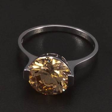 Prsten z bílého zlata velký zirkon champagne 6466 č.1