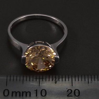 Prsten z bílého zlata velký zirkon champagne 6466 č.2