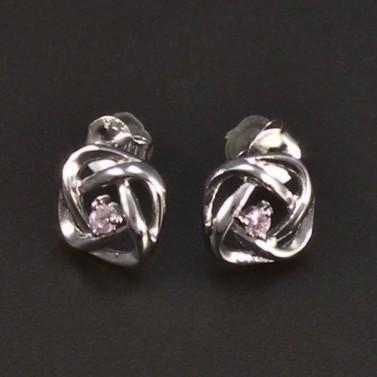 Stříbrné náušnice provedení hladké zirkon 6513 č.1