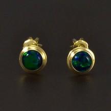 Zlaté náušnice zelený opál 6539