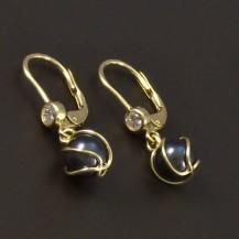 Zlaté náušnice černá perla 6595