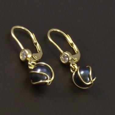 Zlaté náušnice černá perla 6595 č.1