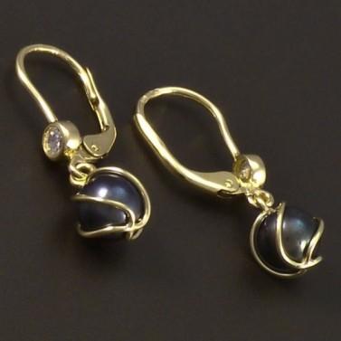 Zlaté náušnice černá perla 6595 č.2
