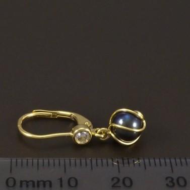 Zlaté náušnice černá perla 6595 č.3