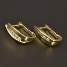 Zlaté hladké náušnice se zirkony 6630