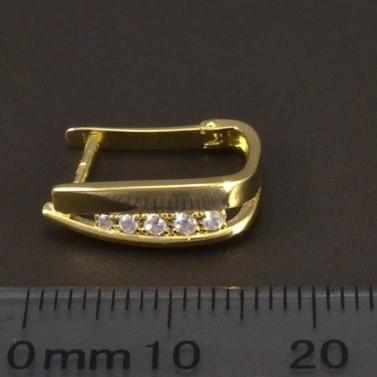 Zlaté hladké náušnice se zirkony 6630 č.3