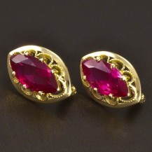 Elegantní zlaté rubínové náušnice 6639