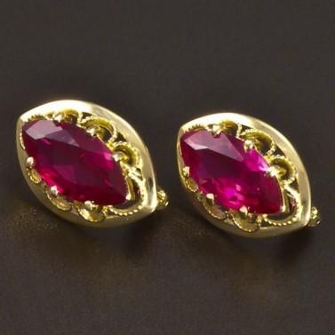 Elegantní zlaté rubínové náušnice 6639 č.1