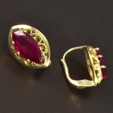 Elegantní zlaté rubínové náušnice 6639 č.2
